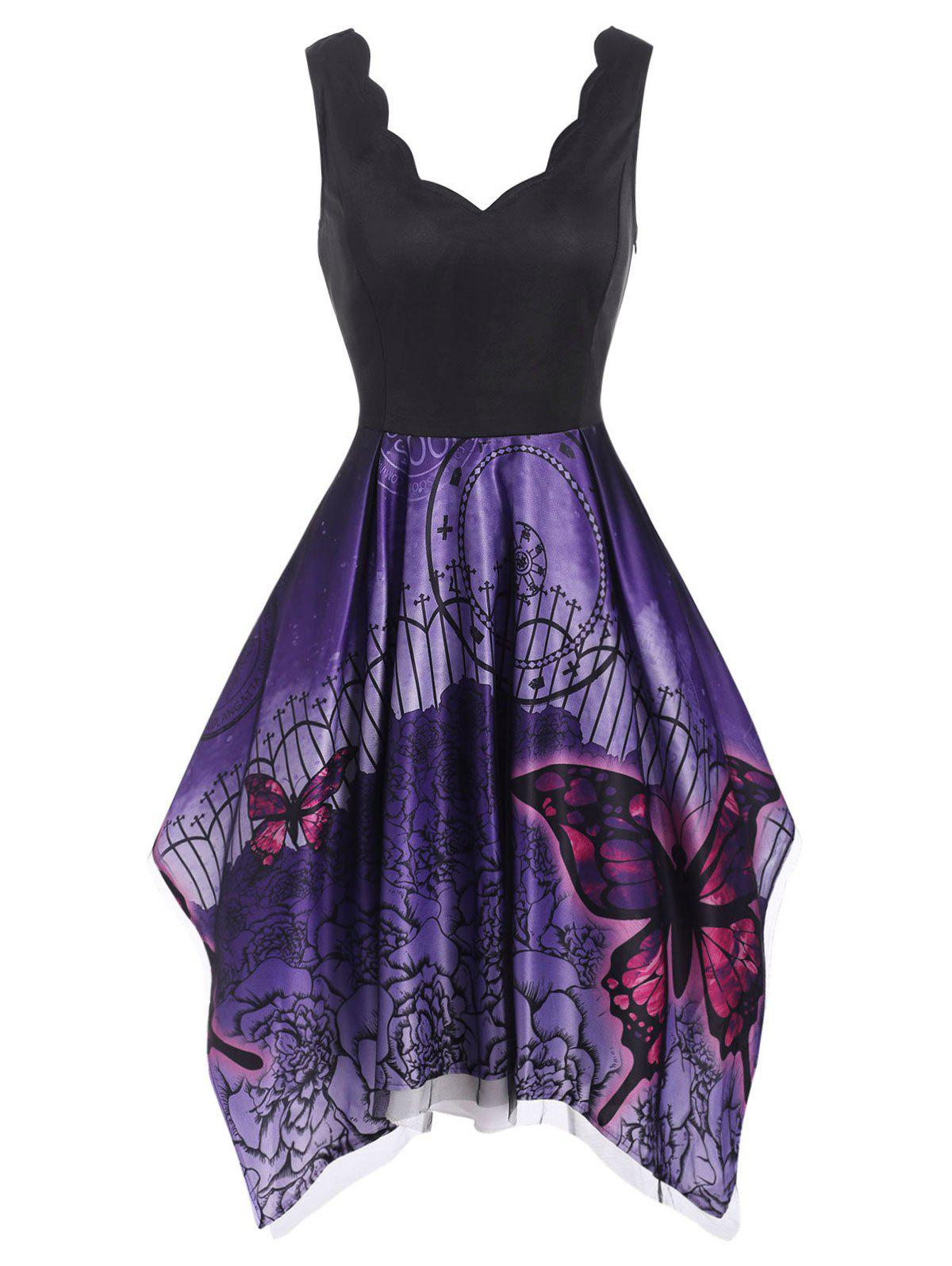 Lace Overlay Butterfly Flower Print Scalloped Handkerchief Dress - PURPLE L