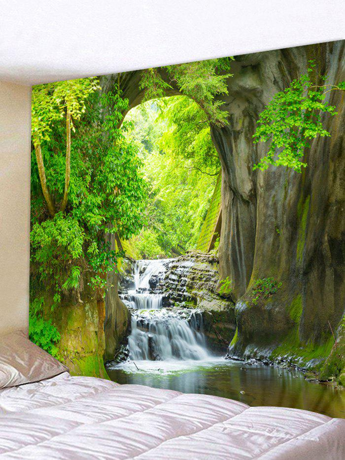 Forest Waterfall Pattern Home Wall Tapestry - multicolor W91 X L71 INCH