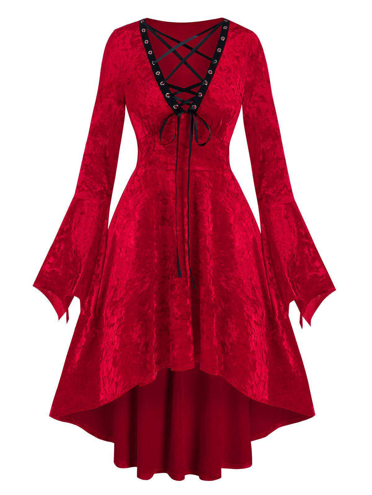 Gothic Lace-up Bell Sleeve High Waist Dress - RED M