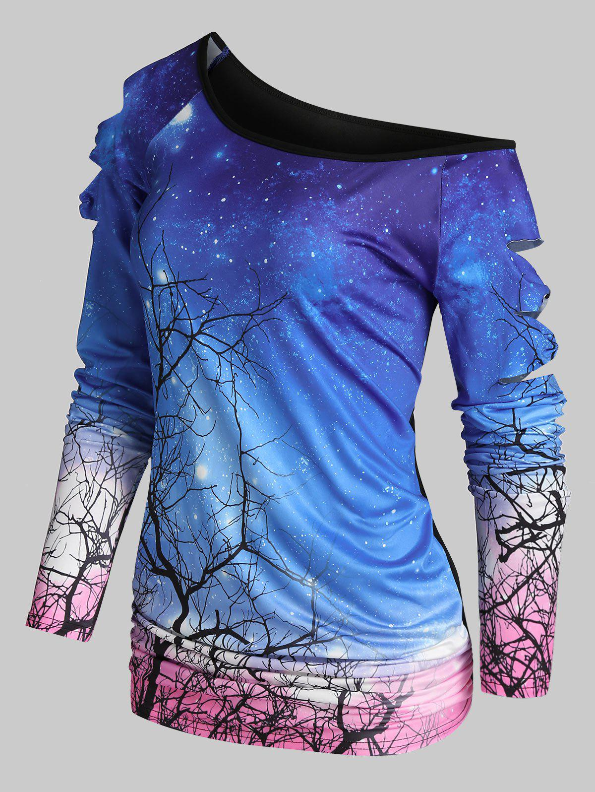 Tree Starry Print One Shoulder Cutout Bow T Shirt - multicolor A M