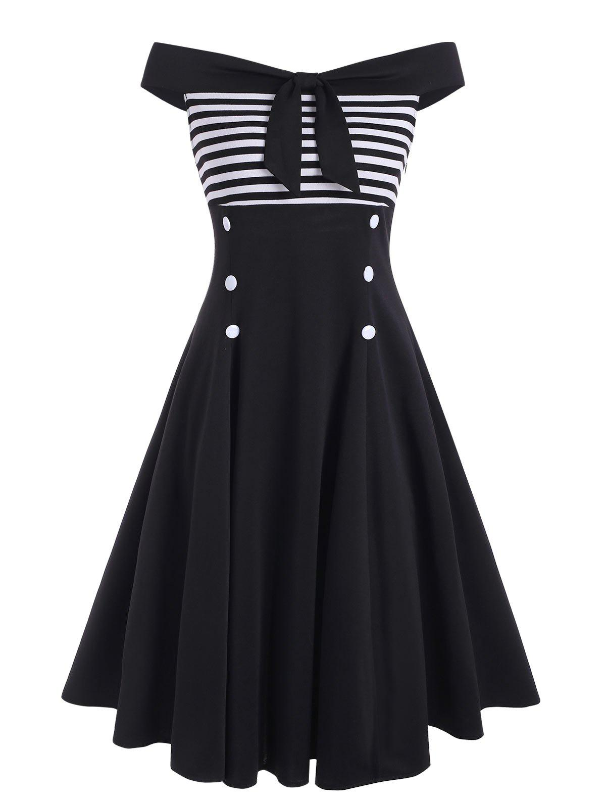 Striped Bowknot Off Shoulder Mock Button Dress - BLACK L