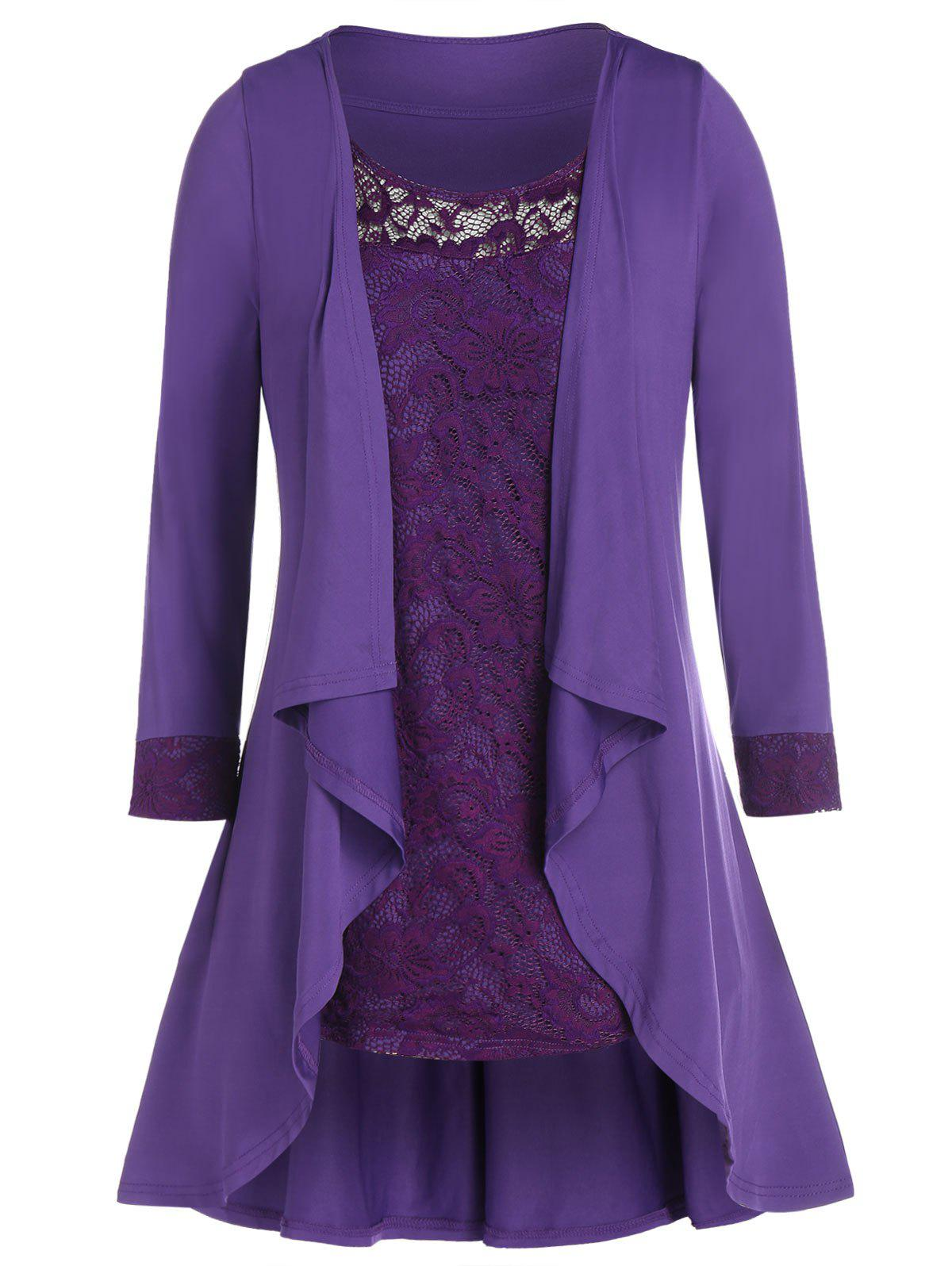 Plus Size Draped Top and Lace Tank Top Set - PURPLE AMETHYST L