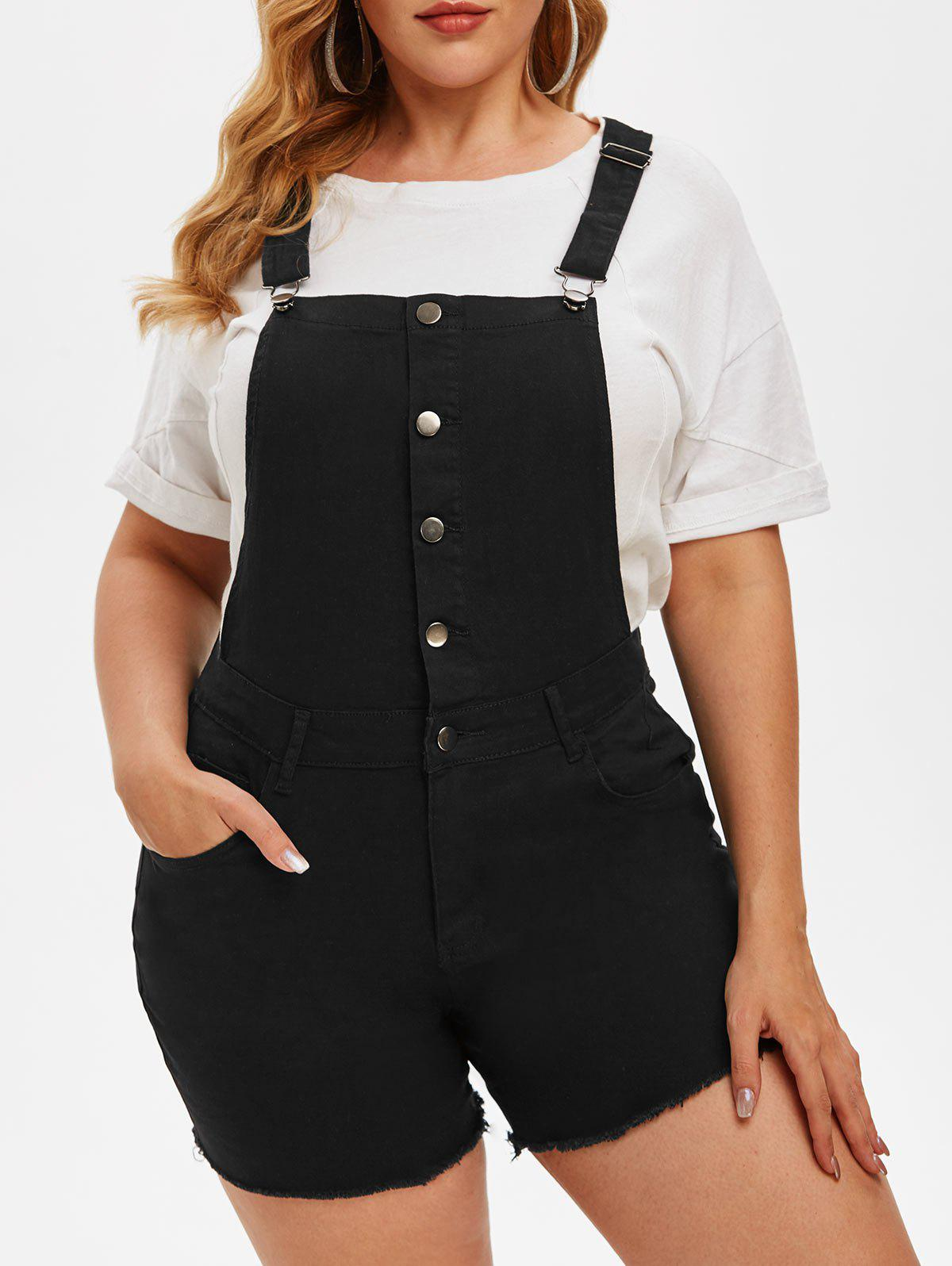 Frayed Hem Pockets Button Front Plus Size Short Denim Overalls - BLACK XL
