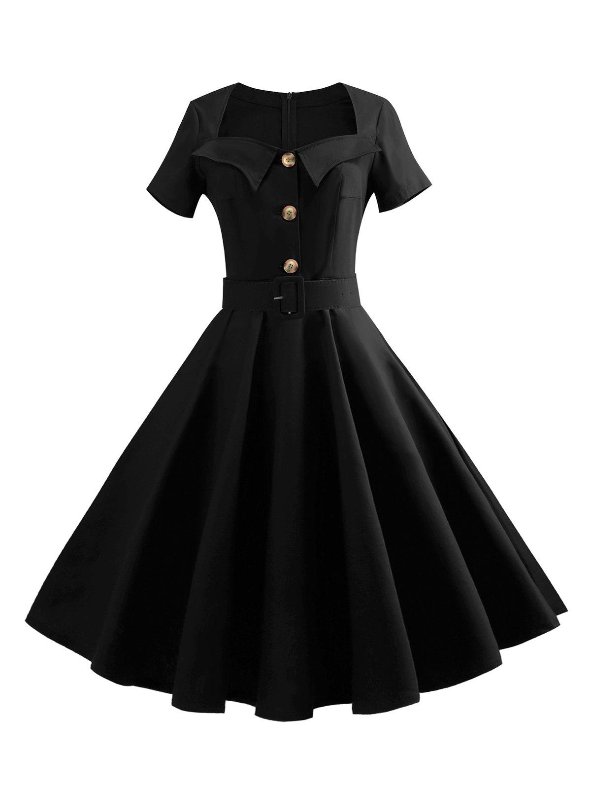 Sweetheart Neck Buttoned Belted 1950s Dress - BLACK S