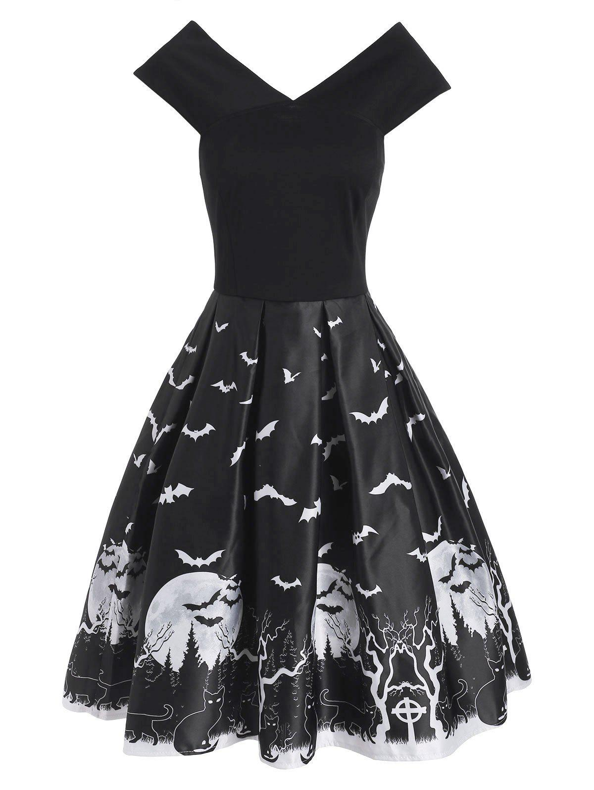 Halloween Tree Bat Moon Cat Print V Neck Dress - BLACK M