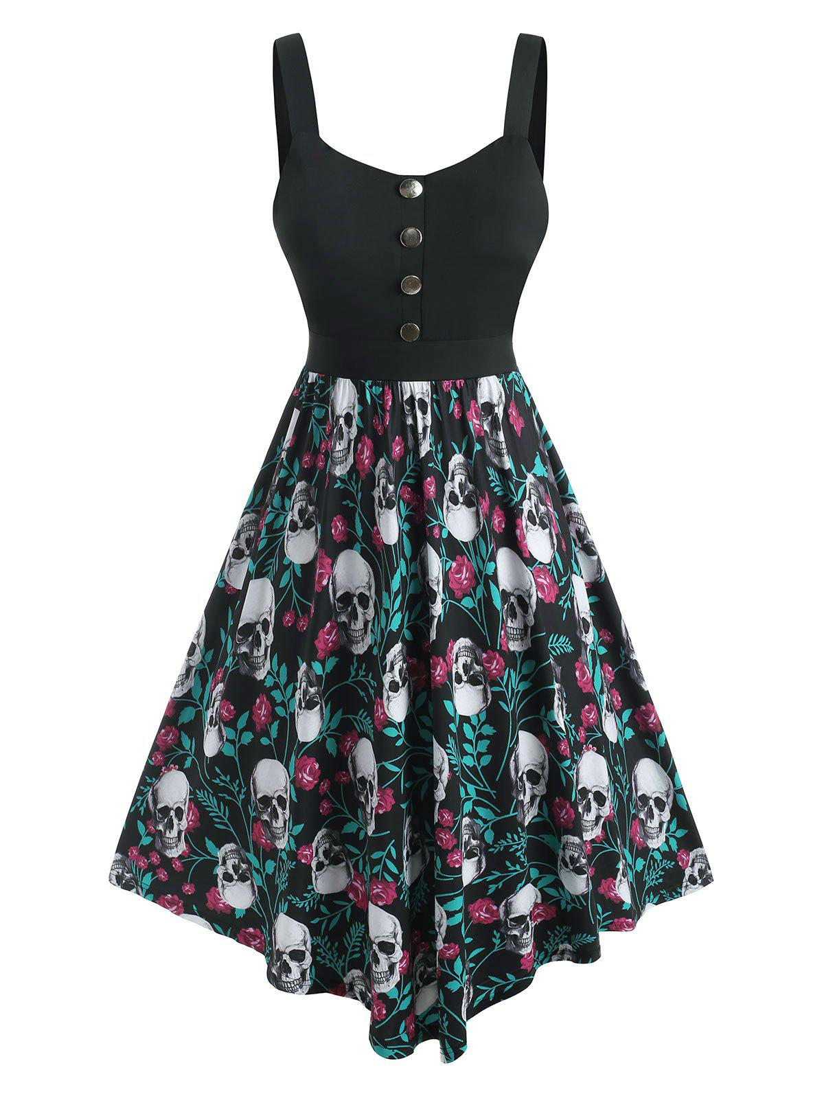 Plus Size Skull Rose Print Halloween Fit and Flare Dress - BLACK 3X