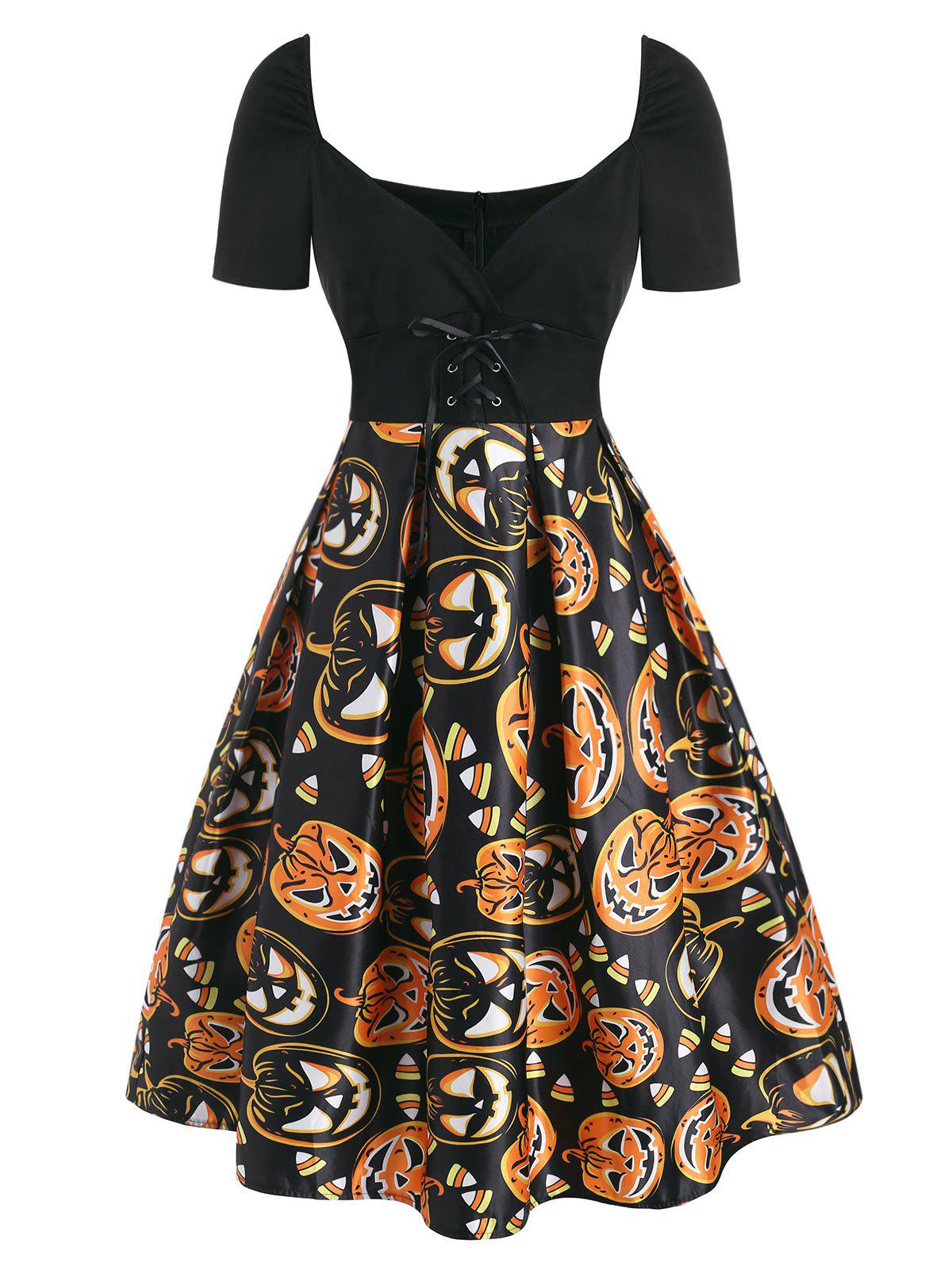 Halloween Pumpkin Lace Up Plunging Dress - ORANGE XL