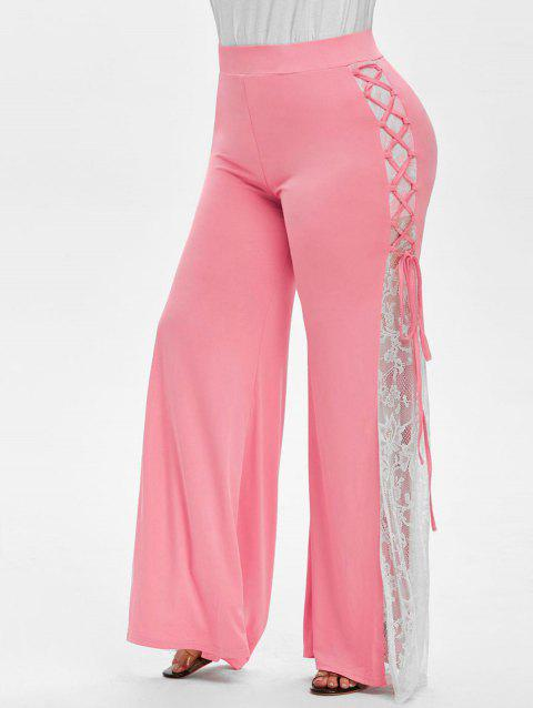 Plus Size High Rise Lace Up Bell Bottom Pants