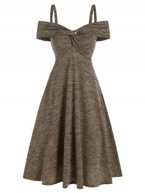 Cold Shoulder Twist Front Heathered Ribbed Dress