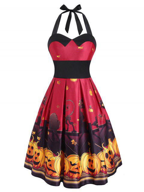 Halloween Pumpkin Bat Print Empire Waist Dress