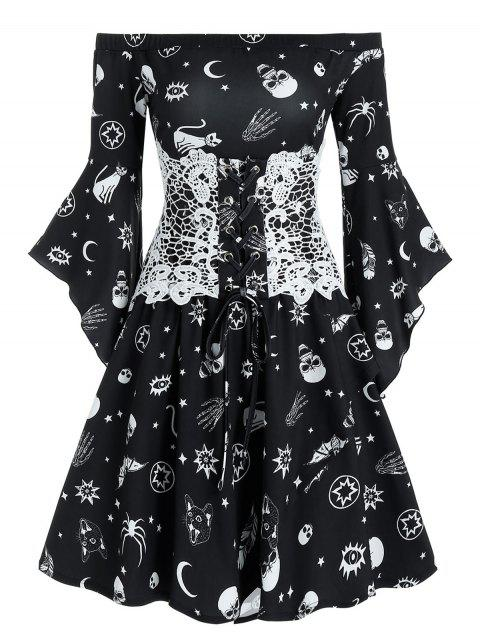 Animal Skull Print Off Shoulder Corset Mini Dress