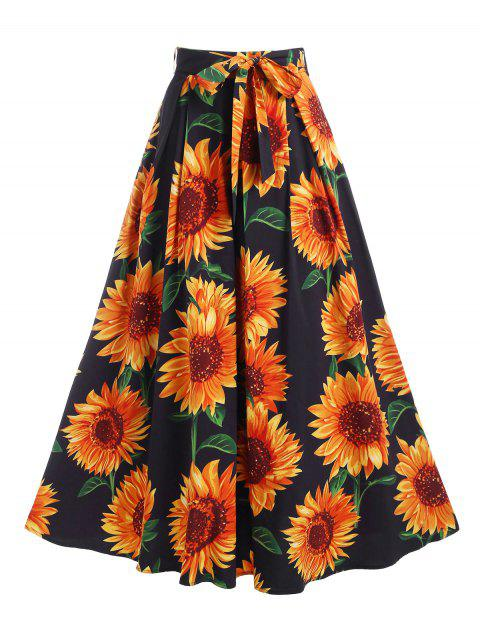Sunflower Print Belted Maxi Skirt