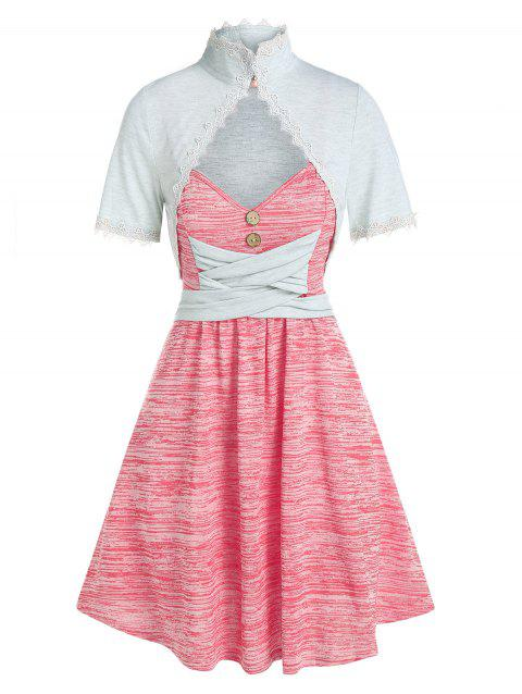 Space Dye Print Sleeveless Dress and Lace Trim Top
