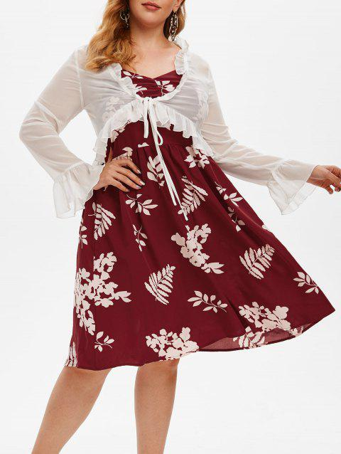 Plus Size Floral Print Dress and Ruffled Top Set