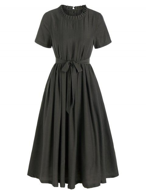Inseam Pocket Pleated Belted Casual Dress