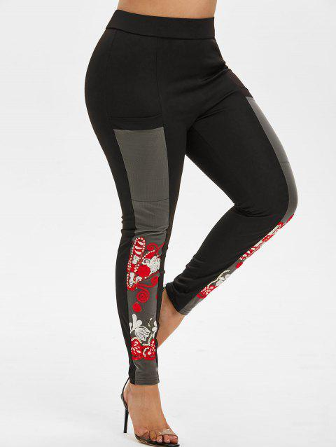 Plus Size Mesh Insert Embroidered Pants