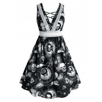 Plus Size Lace Insert Crisscross Halloween Printed Dress