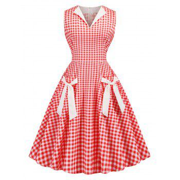 Plaid Tied Front Pocket 1950s Dress