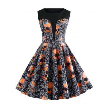 Halloween Skulls Flower Fit and Flare Vintage Dress