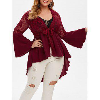 Plus Size Front Tie Plunge High Low Top