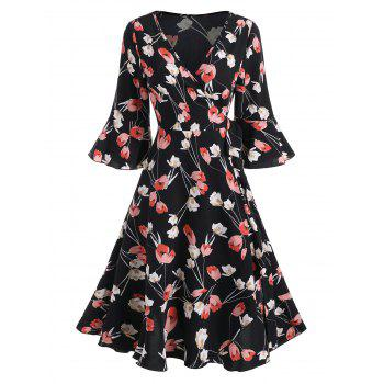Floral Print Flare Sleeve Ruffled Belted Wrap Dress