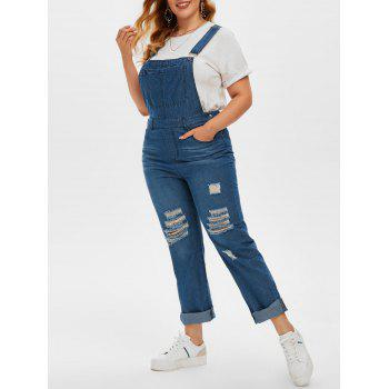 Plus Size Ripped Dungaree Jumpsuit