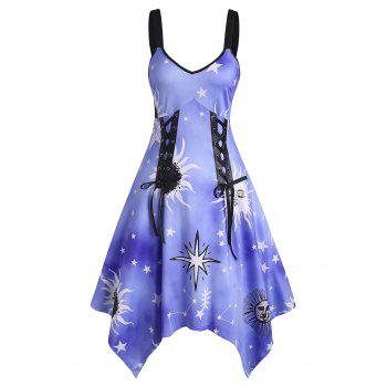 Sunflower Sun Star Print Lace Up High Waist Asymmetrical Dress