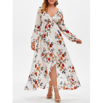 Plus Size Ruffled High Low Floral Print Dress