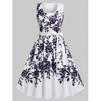 Plus Size Flower Print Belted A Line Dress