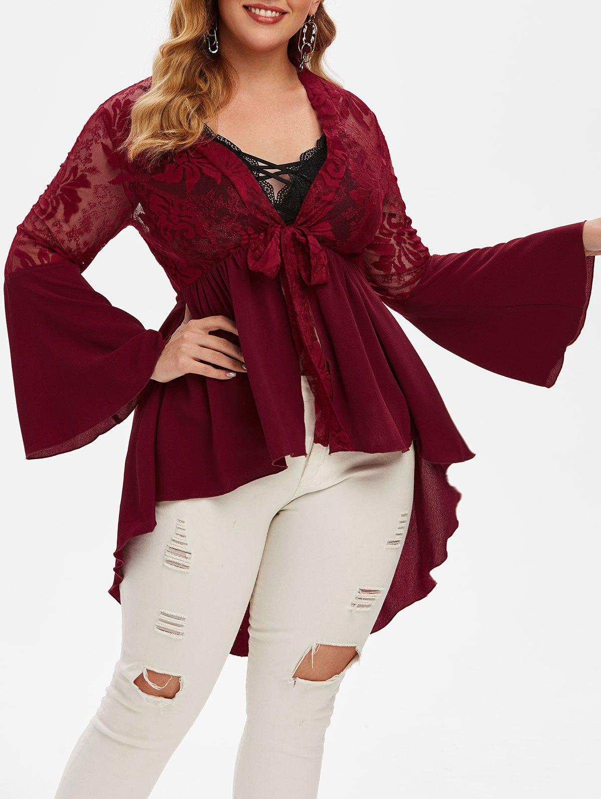 Plus Size Front Tie Plunge High Low Top - RED WINE 5X