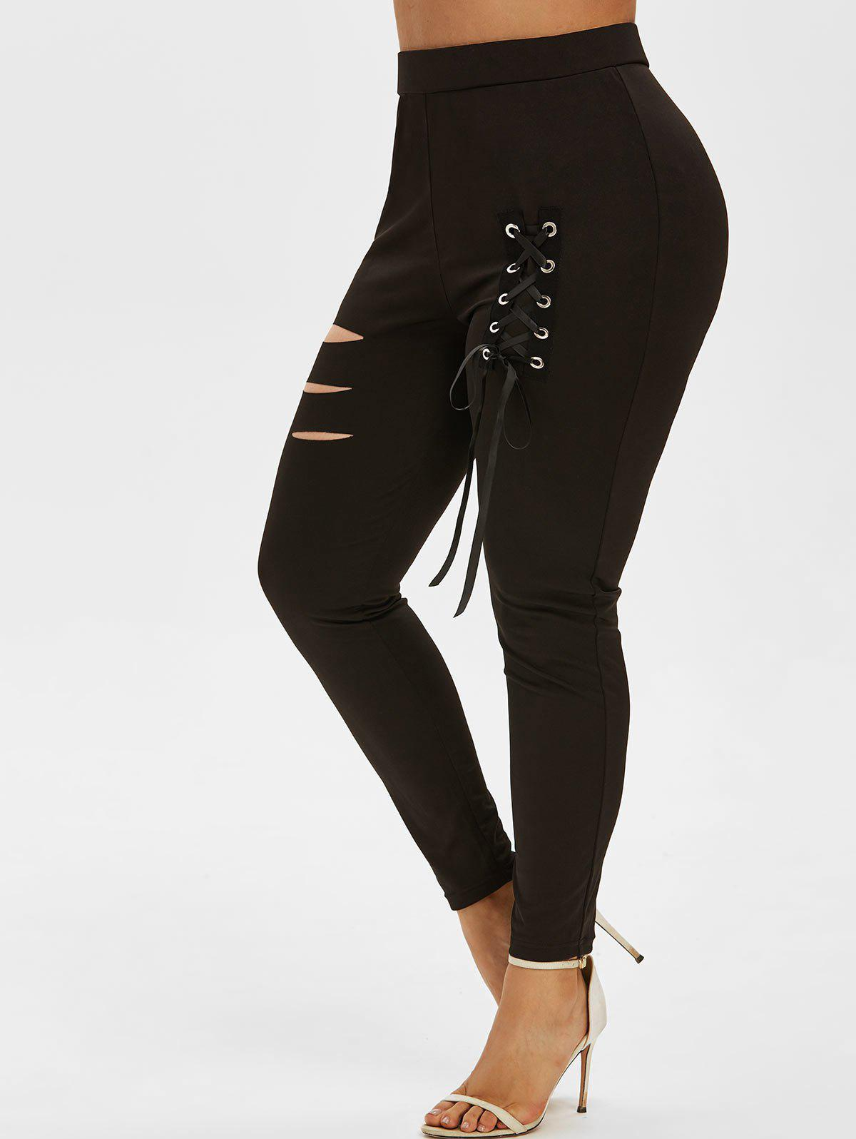 Plus Size Lace Up Ripped Pants - BLACK 5X