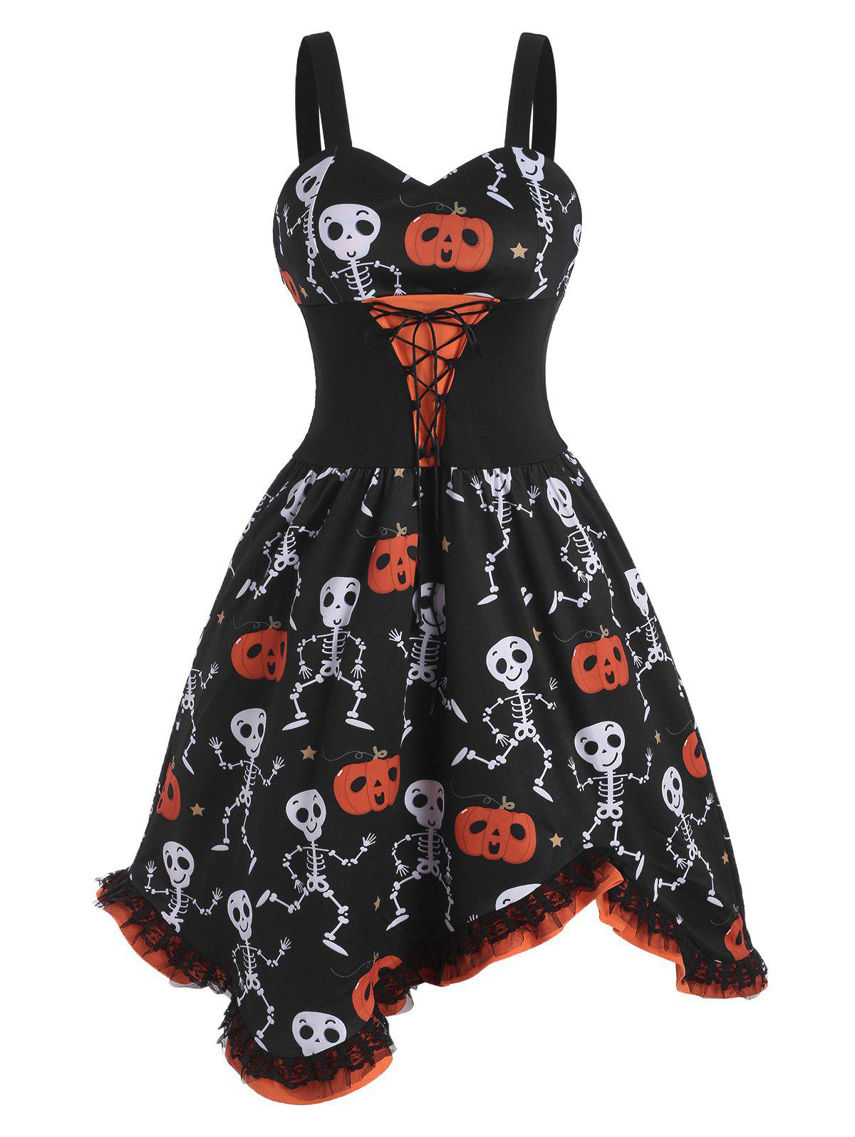 Lace-up Halloween Skull Pumpkin Lace Panel Dress - BLACK XL