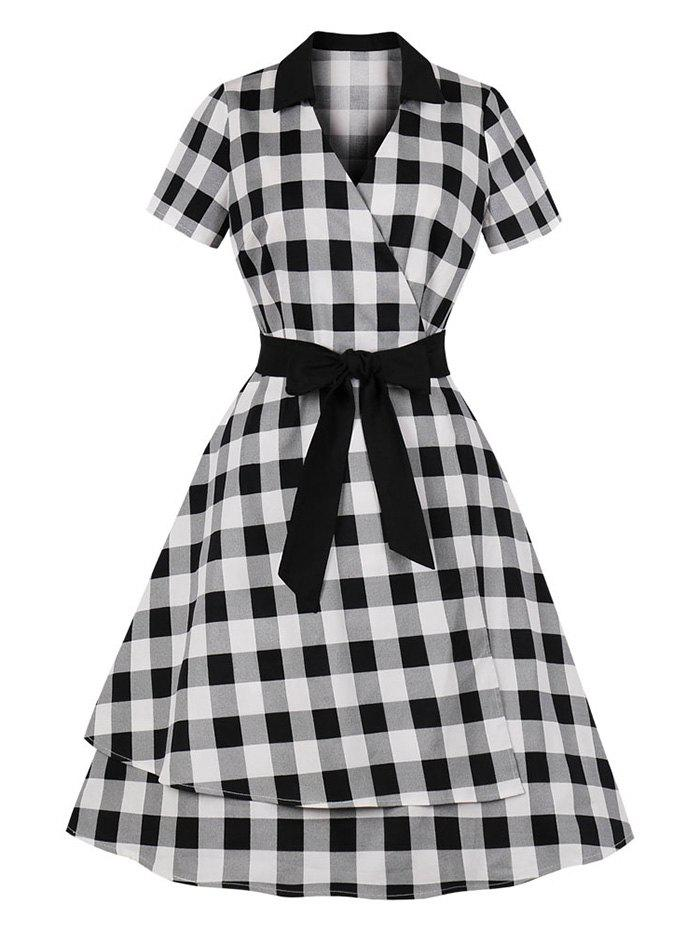 Checked Belted Surplice Dress - BLACK XL