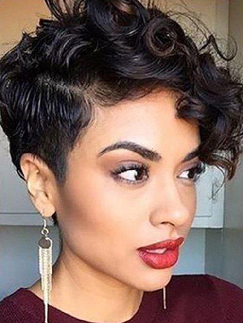 Short Curl Oblique Bang Pixie Cut Synthetic Wig - BLACK