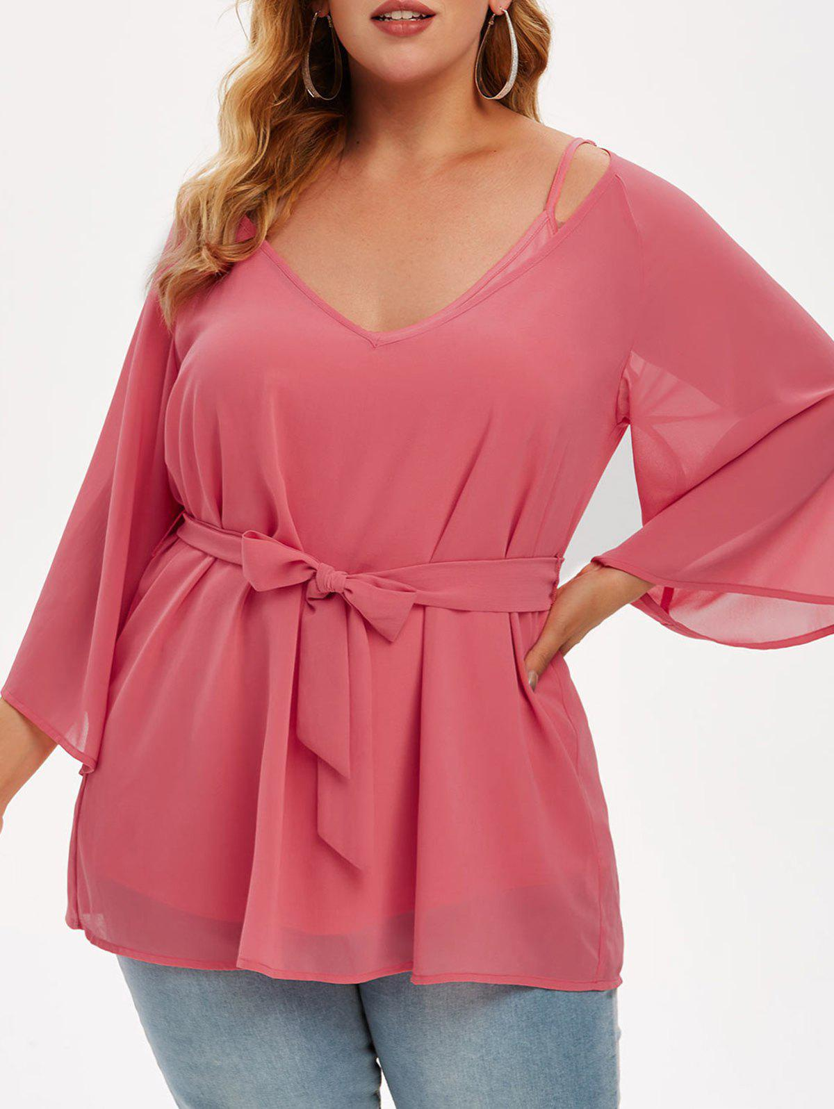 Plus Size Solid Cami Top And Chiffon Belted Blouse Set - LIGHT PINK L