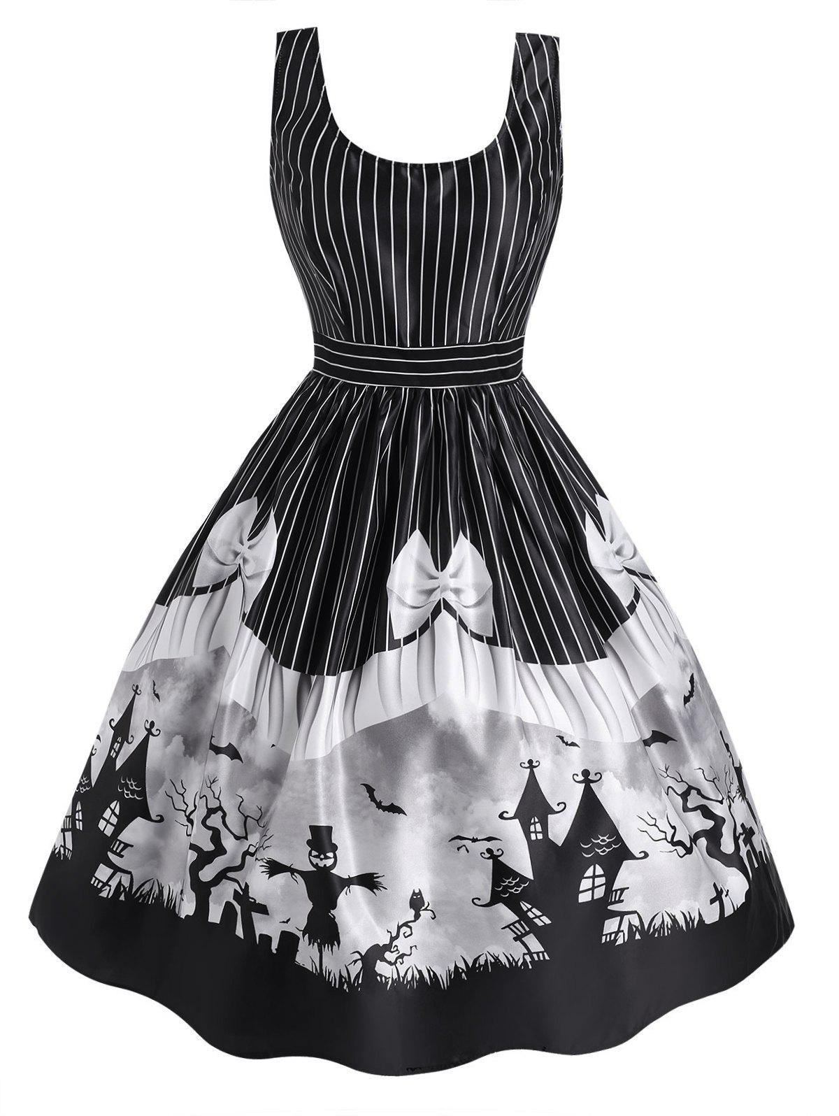 Halloween Striped Castle Bowknot Print Sleeveless Dress - BLACK XL