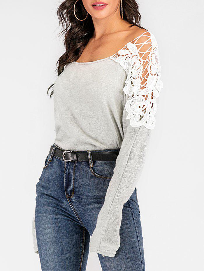 Crocheted Lace Panel Dolman Sleeve Sweater - LIGHT GRAY S
