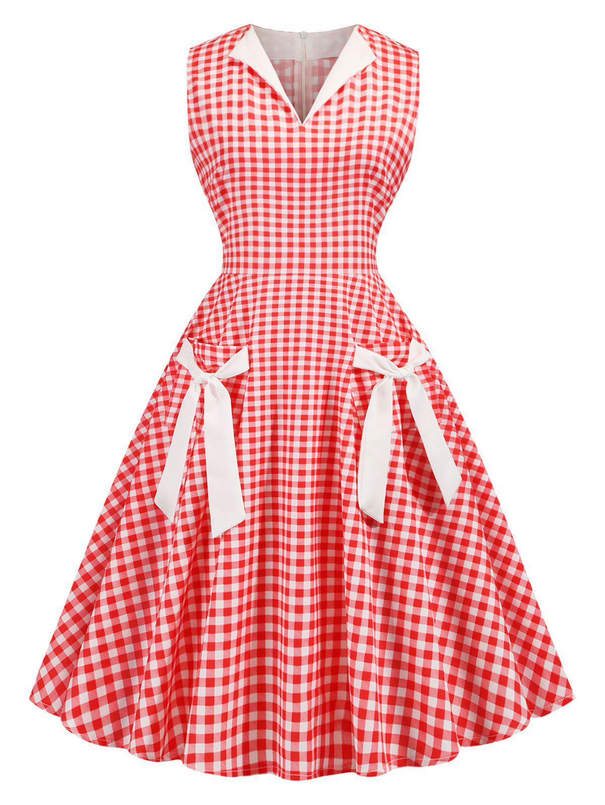 Plaid Tied Front Pocket 1950s Dress - RED XL