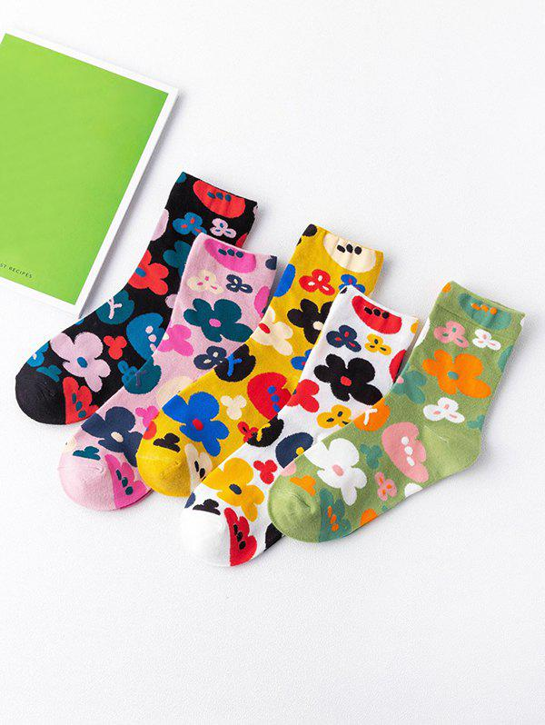 5 Pairs Flowers Printed Cotton Socks Set - multicolor A