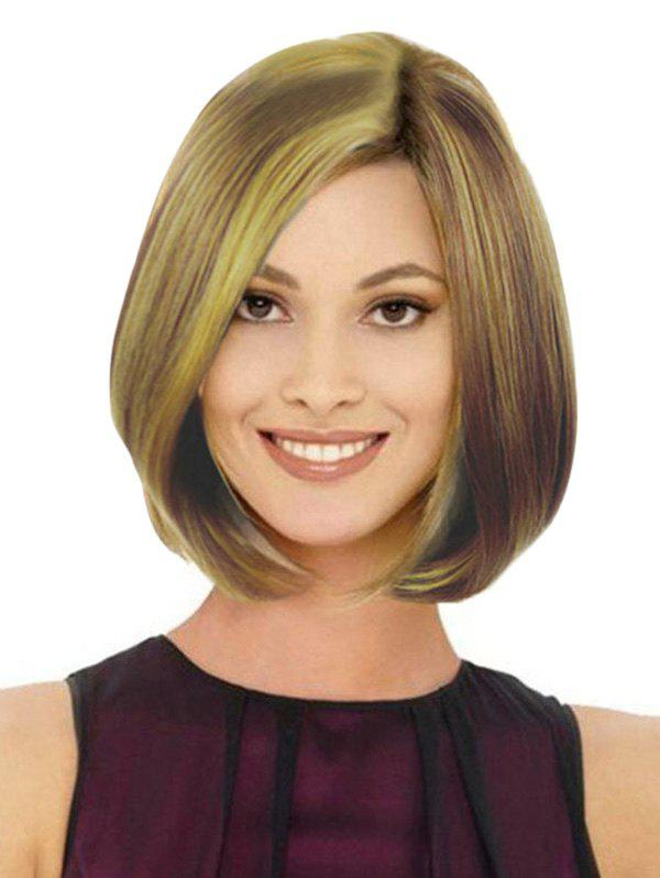Medium Mixed Color Straight Side Part Bob Synthetic Wig - DARK GOLDENROD