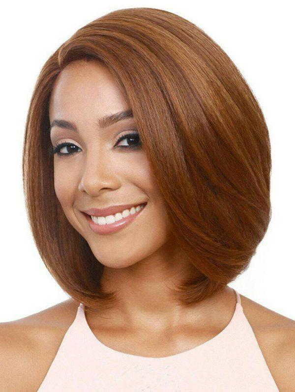 Short Side Part Bob Straight Synthetic Wig - LIGHT BROWN