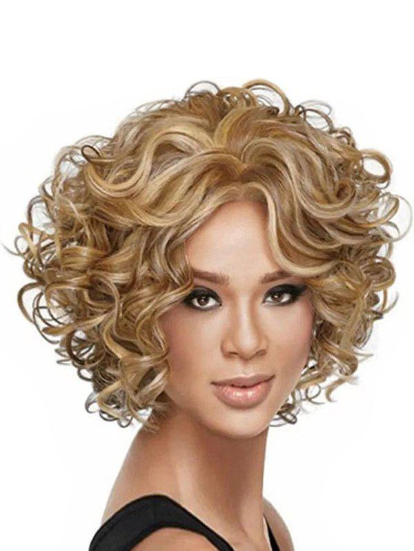 Short Curl Center Part Fluffy Synthetic Wig - LIGHT BROWN