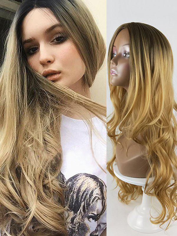 Gradient Long Wavy Center Parting Synthetic Wig - DARK GOLDENROD