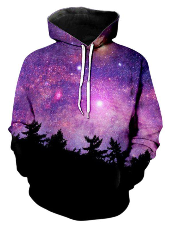 Drawstring Starry Pattern Front Pocket Hoodie - PURPLE FLOWER L