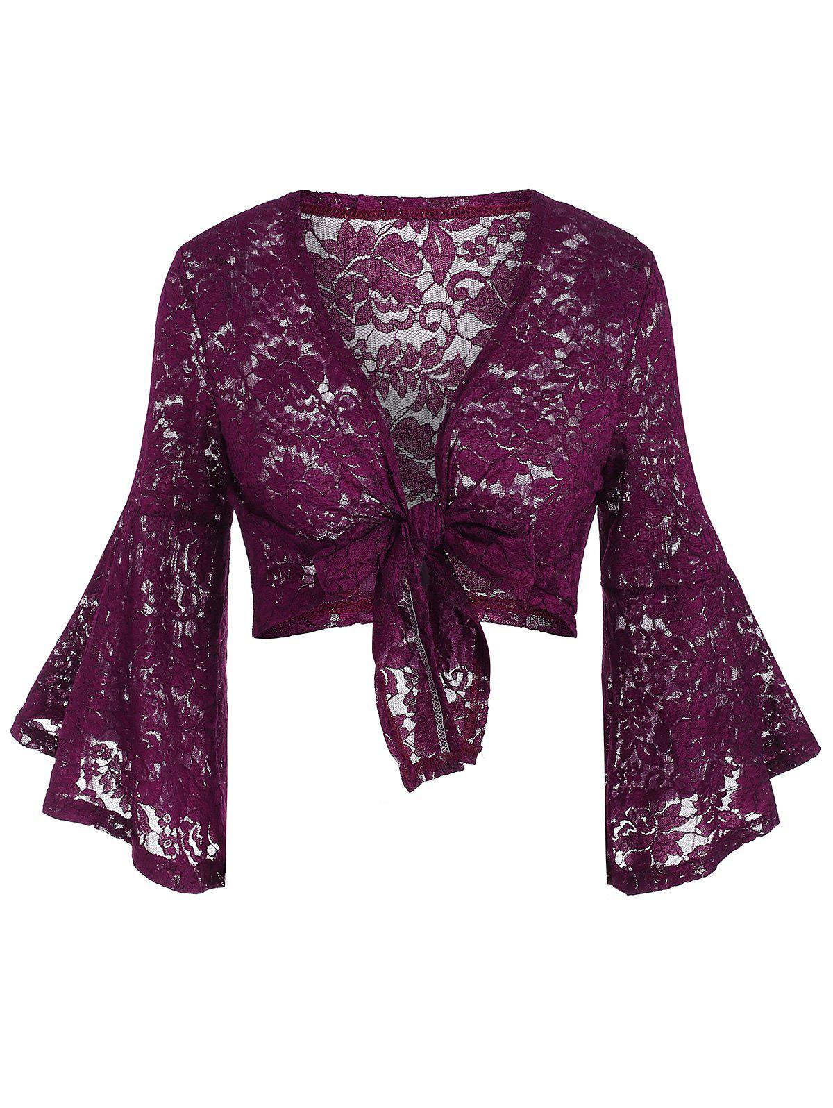 Knotted Lace Flare Sleeve Plus Size Cropped Blouse - PURPLE 1X