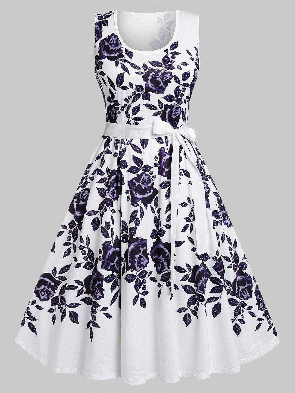 Plus Size Flower Print Belted A Line Dress - WHITE 5X