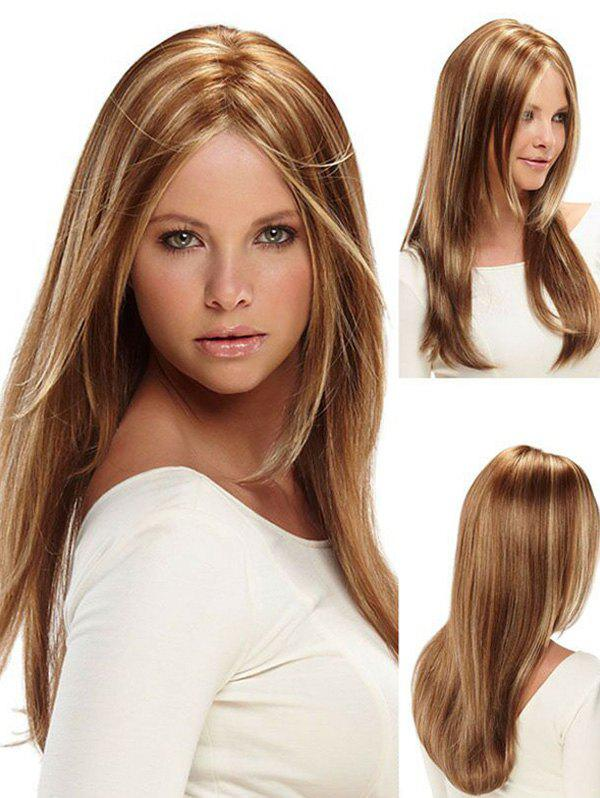 Long Mixing Color Straight Middle Part Synthetic Wig - LIGHT BROWN