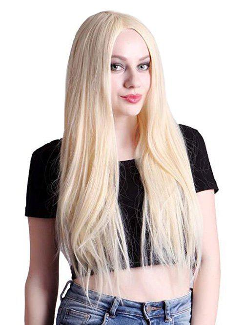Straight Center Parting Long Blonde Synthetic Wig - CORNSILK