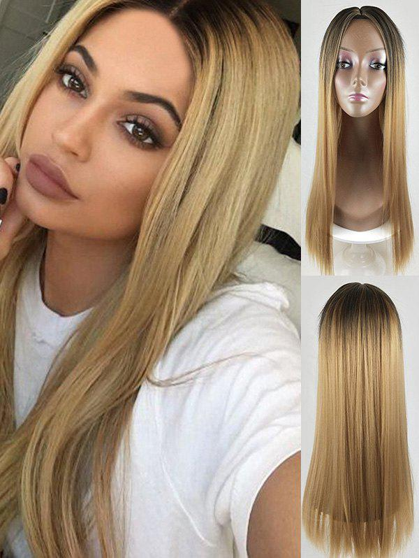 Ombre Color Long Straight Middle Part Synthetic Wig - CAMEL BROWN
