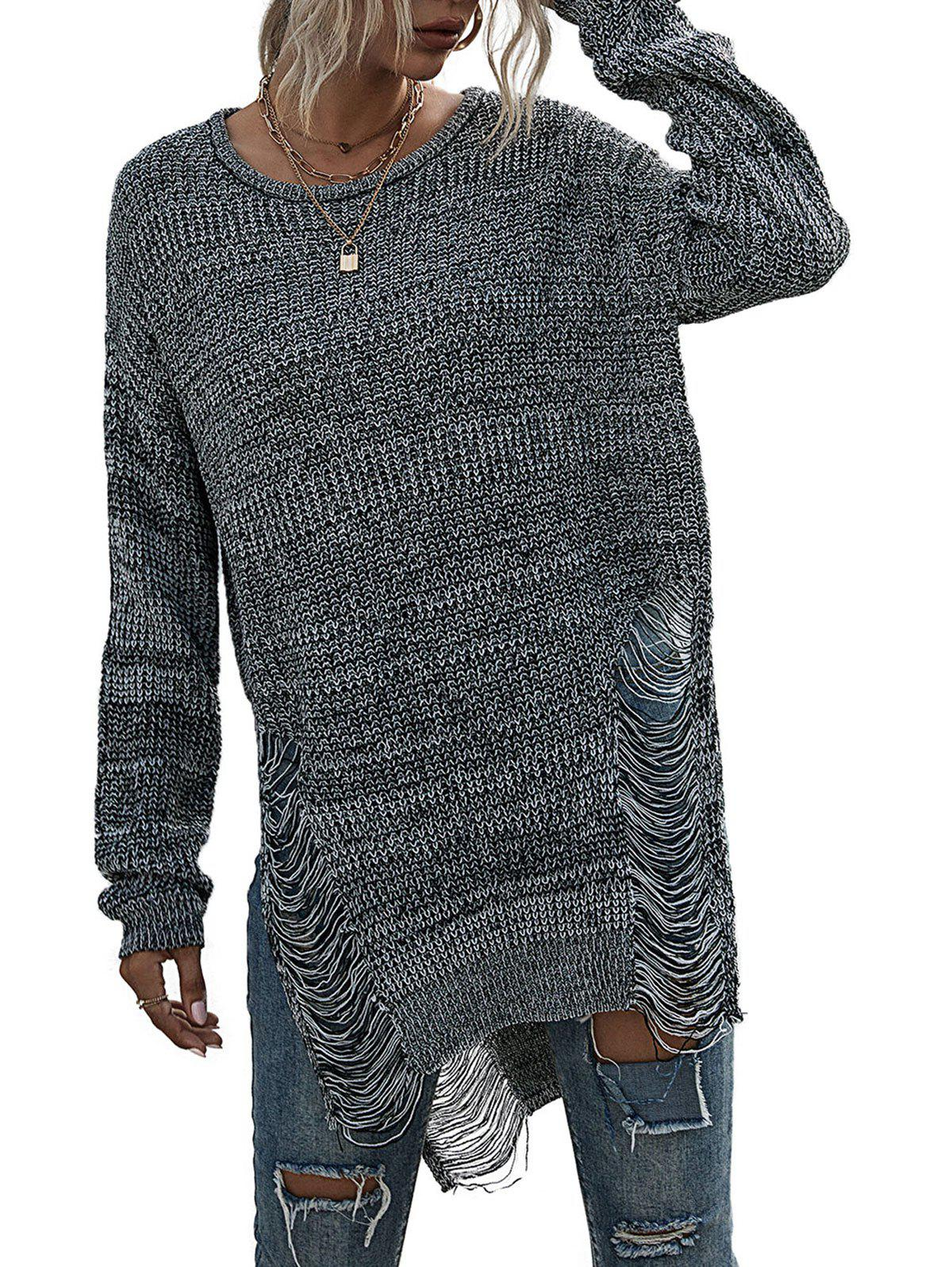 Distressed Ripped Marled Slit Tunic Sweater - GRAY S